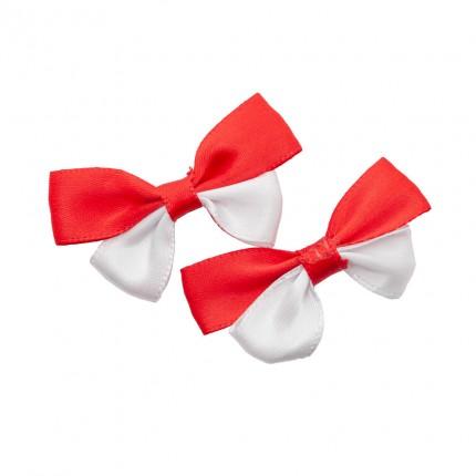 Kokardki kotylionowe biało czerwone r-61 100szt. wpl