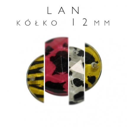 Kamienie akrylowe do naszywania kółko LAN 12mm