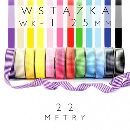 Wstążka tkanina wiosenna drobna kratka 2,5cm WK-1