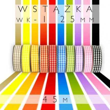Wstążka tkanina wiosenna gruba kratka 2,5cm WK-1