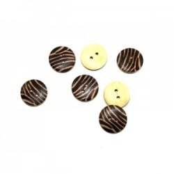 Drewniane guziki wzór zebra brązowo-beżowe kdk-01/g