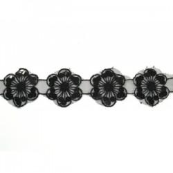 Taśma organtynowa kwiaty haftowane cekinami tc-248