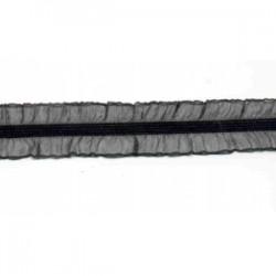 Gumokoronka z falbanką czarna dwustronna 25mm dx-60