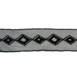 Taśma ozdobna haftowane romby na tiulu tc-118