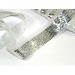 Taśma ozdobna cekinowa srebrna c-037