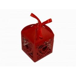 Pudełko ozdobne ażurowe serduszko czerwone PP-05 100szt.