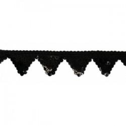 Cekinowa taśma ozdobne ząbki czarna c-029