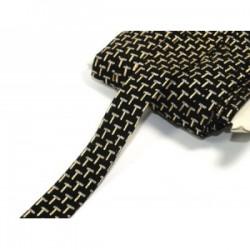 Welurowa taśma z brokatowym nadrukiem tc-136 czarna