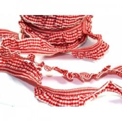 Taśma gumokoronka kratka biało czerwona 30m dx-10