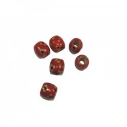 Koraliki drewniane beczułki czerwone kwiatki KDK-04