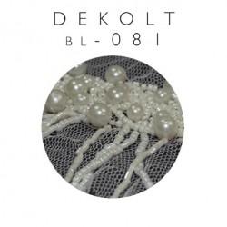 Dekolt ozdobny na siatce z perłami i sieczką bl-081