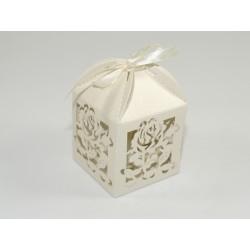 Pudełko ozdobne ażurowe róża perłowe ekri 100szt.