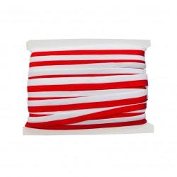 Taśma dziana lampasowa biało-czerwona 20mm