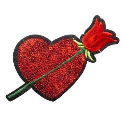 Aplikacja cekiny serce z różą APL-405 25szt.