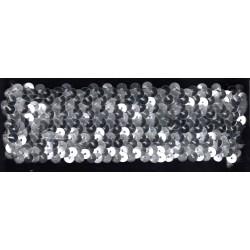 Cekiny na gumie 4cm srebrne C-021