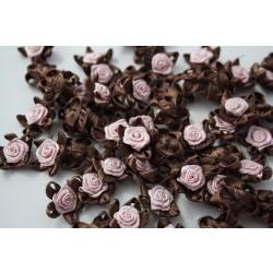 Różyczki atłasowe z pięcioma pętelkami różowe z brązem R-14