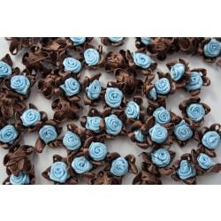 Różyczki atłasowe z pięcioma pętelkami niebieskie z brązem R-14