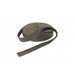 Taśma bawełniana jodełka 15mm czarna/złoto 25mb. WB/G-15mm