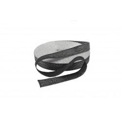 Taśma bawełniana jodełka 15mm czarna/srebro 25mb. WB/G-15mm