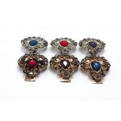 Ażurowe haftki ze fioletowym kamieniem KL-208 w. 5
