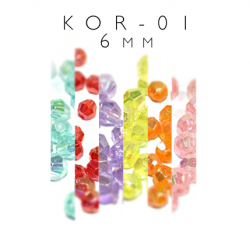 Plastikowe koraliki w paski KOR-01 6mm OPAL