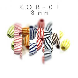 Plastikowe koraliki w paski KOR-01 8mm