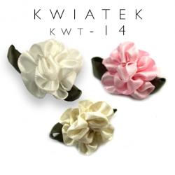 Atłasowe kwiatki z listkiem kwt-14 200szt.