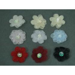 Kwiatki organdynowe z cekinem i koralikiem KWT-31