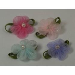 Kwiatki organdynowe z perełką kwt-37