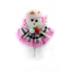 Aplikacja laleczka różowa kratka LD-003 001