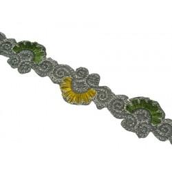 Taśma ozdobna tc-122 srebrno-zielona