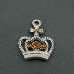 Zawieszka charms korona z miodowymi cyrkoniami zs-004