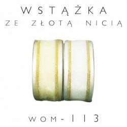 Wstążka organdynowa ze złotą nicią WOM-113