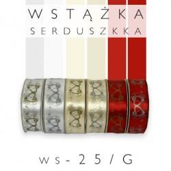 Wstążka satynowa z nadrukiem w serduszka kolor WS-25mm/G