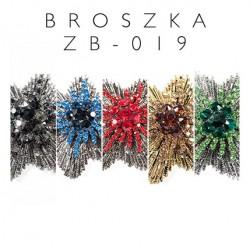 Broszka rozeta z kolorowymi kamieniami ZB-019 kolory 5szt.