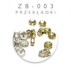Przekładki metalowe z cyrkoniami 100szt. zb-003
